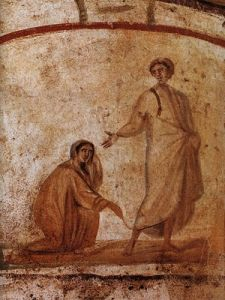 Jesus heals a bleeding woman-- from Marcellinus-Peter catacomb in Rome